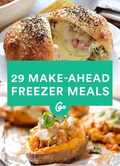 29 Make-Ahead Meals to Keep in Your Freezer #freezermeals #frozenfood http://greatist.com/eat/healthy-freezer-meals