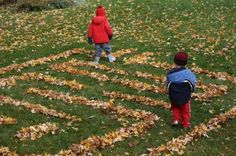 A-maze-ing Fall Fun - maze made out of leaves, what a great idea