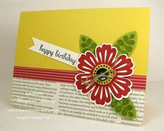 """Stamps:  Mixed Bunch, Funky Four, Fabulous Phrases  Paper:  Daffodil Delight, Lucky Limemade, Very Vanilla card stock; First Edition DSP, DSP Patterns Stack Brights Collection  Ink:  Real Red, Old Olive, Basic Black  Tools:  Blossom Punch, 3/4"""" Circle Punch, Blossom Petals XL Punch, 3/16"""" Corner Punch, Stamp-a-ma-jig  Extras:  Black button (my button jar), Linen Thread, Mini Glue Dots, Stampin' Dimensionals"""