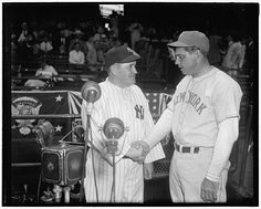 Joe McCarthy (left) with Bill Terry of the NY Giants at the 1937 World Series. Baseball Photos, Baseball Cards, Bill Dickey, Jimmie Foxx, Lou Gehrig, Babe Ruth, American League, National League, San Francisco Giants