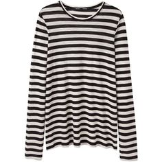 Proenza Schouler Long Sleeve Striped Tissue Tee (375 CAD) ❤ liked on Polyvore featuring tops, t-shirts, long sleeves, black long sleeve t shirt, boxy tee, striped tee, black t shirt and crew neck t shirt