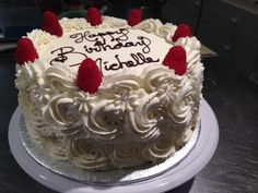 Whipped cream rosette cake with flat top for piping the inscription Nut-free bakery  White Rock BC