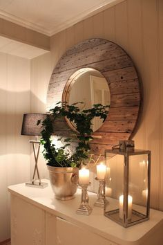 Rustic Wood Mirror and Lanterns