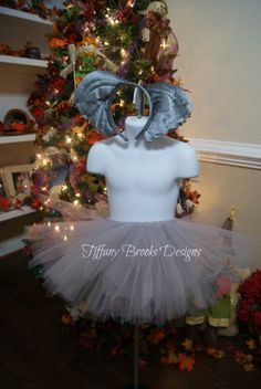 Elephant Tutu Halloween Costume with ears and tail. Tiffany Brooks Designs