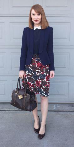 Blazer, Zara (swap); top, Club Monaco (consignment); skirt. Red Lipsticks Navy ...