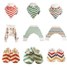 BellaOskis ORGANIC Premium Quality Handmade Baby Pram Shoes in a modern GENDER NEUTRAL Multi Coloured SKINNY CHEVRONS fabric.  Perfect New Baby Modern