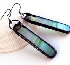 OOAK Green Baroque Stained Glass Earrings  Stained by LAGlass
