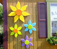 Outdoor Wood Flower, Outdoor Pool Decor, Garden Decorations, Red Yellow Flower Wall Art for She Shed or Patio, Shabby Chic Outdoor Art - Outdoor Garden Decor, Outdoor Art, Garden Decorations, Outdoor Pool, Indoor Outdoor, Wood Flowers, Outdoor Flowers, Flower Center, Flower Show