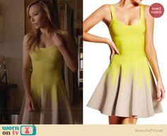 Santana's yellow zig zag colorblock dress on Glee.  Outfit Details: http://wornontv.net/32093/ #Glee