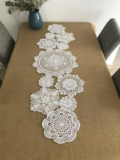 Lovely assorted hand crochet white floral doilies, handmade round coasters, round table doily set for doily runner DIY ~ Nice gift for Mom - Lovely assorted hand crochet white floral doilies, handmade round coasters, round table doily set f - Crochet Motif, Crochet Doilies, Hand Crochet, Crochet Patterns, Crochet Table Runner, Table Runner Pattern, Crochet Projects, Sewing Projects, Doily Art