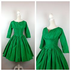 50s Green Taffeta Party Dress / Full Skirt / by MotherOfVintage, $126.00