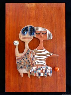 Rosemary Zwick Ceramic and Wood Plaque