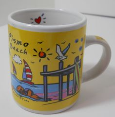 Pismo Beach CA mini mug yellow seashore sailboats pier sea gull 3 x 2 1/2