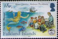 Another 2005 stamp issued in honor of Andersen was this one in the Falkland Islands, a tribute to The Little Mermaid. This one not only features the story, but it shows an adult sharing the story with an eager group of young listeners.