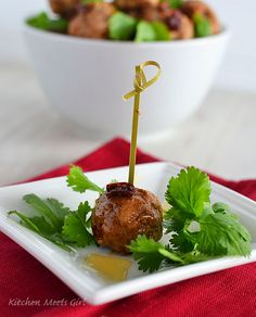 Honey-Chipotle Meatballs from Kitchen Meets Girl #recipe #appetizer