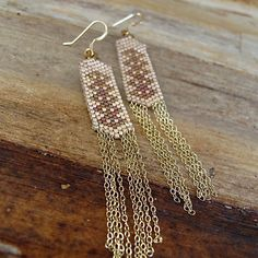 Aztec Waterfall earrings...Original Peyote Stitch Design by Susan Thomas. Wildfire Beading Thread makes it soooo easy!