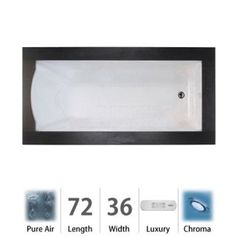 Jacuzzi Fuzion Drop In Luxury Pure Air®; Bathtub with Luxury Controls, Chromatherapy