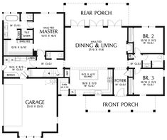 Image for Cary-Incredibly Well Laid Out Dream Home Floor Plan-Main Floor Plan Cut off the 2 xtra bedrooms and the garage and make it a log cabin. Jimmy and I would be in heaven! Farmhouse Floor Plans, Kitchen Floor Plans, Farmhouse Style, Home Floor Plans, Ranch Floor Plans, Dream House Plans, Small House Plans, Rectangle House Plans, Texas House Plans