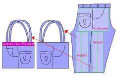 Anleitung 2 Taschen aus einer Jeans                                                                                                                                                                                 Mehr