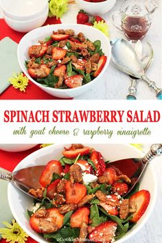 Spinach Strawberry Salad with Goat Cheese, topped with candied pecans and your favorite raspberry vinaigrette, is a light and summery salad that goes perfectly with warm days. Serve it as a side or top with chicken or fish for a light lunch or dinner. Healthy, delicious & only 10 minutes to make. #salad #healthy #easyrecipe #strawberries #spinach #candiedpecans #goatcheese #recipe via @2CookinMamas