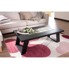 Furniture of America Peri Black Photo Insert Coffee Table for Life magazines etc Living Room Seating, New Living Room, Home And Living, Living Room Furniture, Living Room Decor, Coffee Table Wayfair, Sofa End Tables, How To Clean Furniture, Cool Coffee Tables