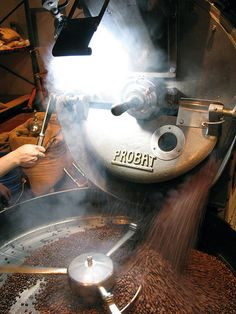 Espresso blend roasting at Four Barrel Coffee. Photo by Tonx, via Flickr.