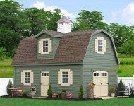 E60-12131 - 14x24 Legacy MaxiBarn with ClapboardPaint and Trim: Avocado, Doors and Shutters: Buckskin, Roof: Dark Brown - Options: Dormer, Cupola and Extra Windows