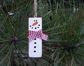 Snowman Ornament, Repurposed Jenga Block, Rustic Snowman, Christmas Tree Ornament, Wood Block Snowman, Holiday Ornament, Snowman, Christmas