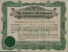Stock/Bond: 1925 Fifty Four Oil Company Colorado E A Pring Stock Certificate Petroleum 54 Co