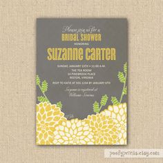 Yellow and Gray Bridal Shower Invitations