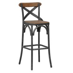 Dixon Black Natural Rustic Bar Stool