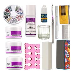 14 in 1 White Clear Pink Acryic Powder Nail Art Decorations Kit Brush Cuticle Revitalizer Oil Pen Tools Rhinestones Sanding Buffer Forms Nail Tips Glue Mold Acrylic Nail Art DIY Set Diy Acrylic Nails Kit, Acrylic Nail Liquid, Simple Acrylic Nails, Nail Oil, Nail Art Brushes, Nail Art Tools, Diy Beauty Nails, Oil Pen, Diy Manicure