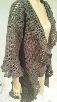 20 Gorgeous Free Crochet Cardigan Patterns for Women: Pewter Ruffled Cardigan Free Crochet Pattern