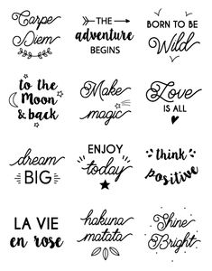 The illustrations in the exclusive Happybulle design - New Ideas - . - The illustrations in the exclusive Happybulle design – New Ideas – - Hand Lettering Quotes, Brush Lettering, Lettering Design, Scrapbook Designs, Diy Scrapbook, Diy Candles Design, Photo Album Scrapbooking, Silhouette Portrait, Printable Quotes