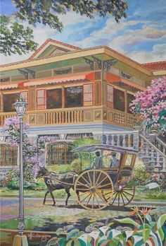Bahay na Bato (Philippine Ancestral House) - by JBulaong 2013 oil on canvas x Filipino House, Filipino Art, Filipino Culture, Philippine Architecture, Filipino Architecture, Philippine Houses, Philippine Art, Philippines Culture, Manila Philippines