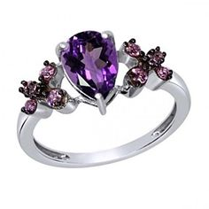 14K White Gold Over Pear Shape Amethyst & Pink CZ Solitaire Engagement Ring by JewelryHub on Opensky