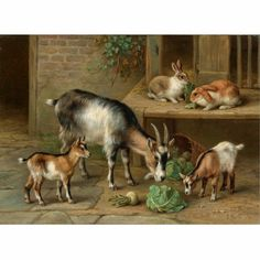 hunt, edgar rabbits and goats at feeding time ||| victorian, pre-raphaelite||| victorian, pre-raphaelite & british impressionist art ||| sotheby's l07131lot3k7z6en