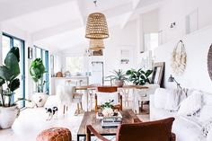 The Room of the Week boasts a fresh white palette with a global vibe in this open loft dining room. Decoration Inspiration, Interior Inspiration, Boho Inspiration, Decor Ideas, Living Room Decor, Living Spaces, Dining Room, Scandinavian Home, House And Home Magazine