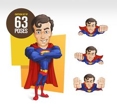 → Super Man #Vector Character - 63 Awesome Poses