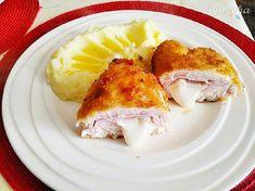 Smažené kuřecí kapsy s camembertem - recept | Varecha.sk Eggs, Breakfast, Food, Meal, Egg, Eten, Meals, Morning Breakfast