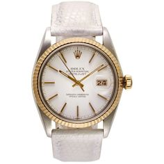Rolex Stainless Steel And 18K Yellow Gold Datejust With Snow-White... (76,535 MXN) ❤ liked on Polyvore featuring jewelry, watches, gold watches, gold wrist watch, vintage gold watches, vintage watches and gold stainless steel watches