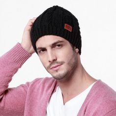 Autumn men wool knit hat double fleece beanie hat winter outdoor wear