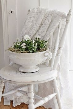 Lovely ironstone tureen with flowers.