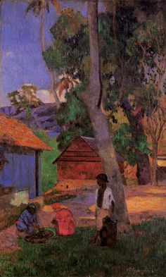 Gauguin. Around the huts, 1887. When he returned to France, Gauguin showed his Martinican paintings with pride. Even while he was in poor health, his paintings were full of light and vitality.