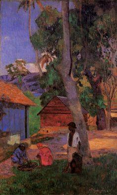 Gauguin. Around the huts, 1887.
