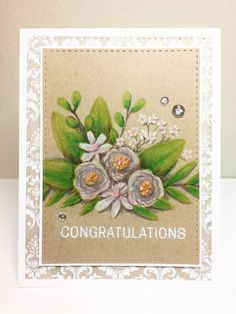 Shabby chic wedding / anniversary card made with the Simon Says Stamp June 2017 card kit