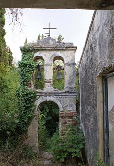 Chapel at Mon Repo. Still the property of the exhiled Greek Royal Family, confiscated by Corfu Town Hall and allowed to fall to a ruin.  Corfu. GREECE.