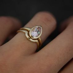 Morganite Pear White Gold Engagement Ring and by onegarnetgirl
