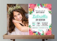 Invitación de bautismo Sud anuncio chicas por CassiaLeighDesign
