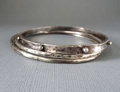 Silver Stacking Bracelets Hammered Bangles Set of Three Silver Granulated Bangle Modern silver Jewelry Organic Metal Jewelry Silver Jewellery Indian, Silver Bangles, Sterling Silver Bracelets, Silver Necklaces, Silver Earrings, Silver Jewelry, Diamond Jewelry, Gemstone Jewelry, Indian Bangles